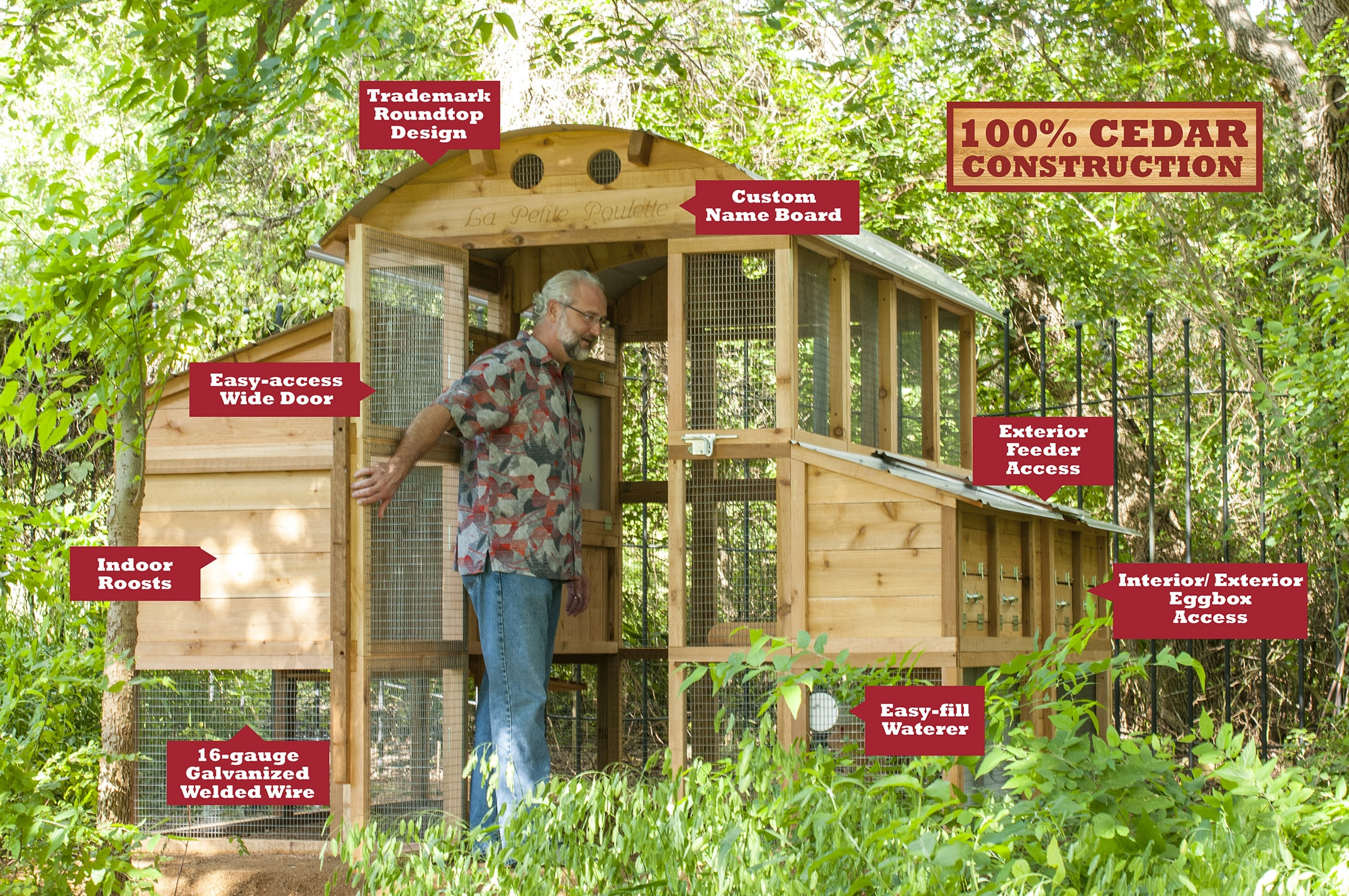 Round-Top Walk-In™ Large Chicken Coop - Roost & Root