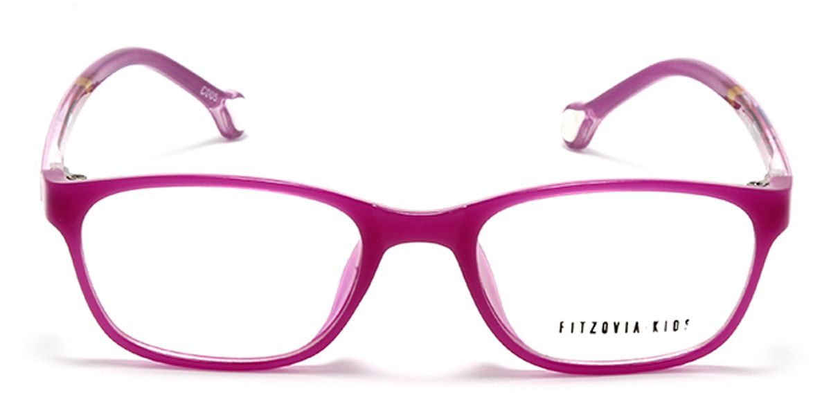 Rectangle Eyeglass for Kids Shiny Pink Front with Shiny Pink Temples