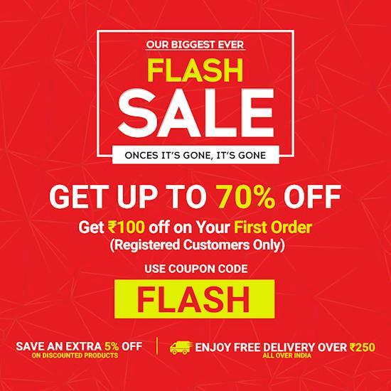 Up to 70% + Flat Rs 100 Off  | Online Shopping Flash Sale