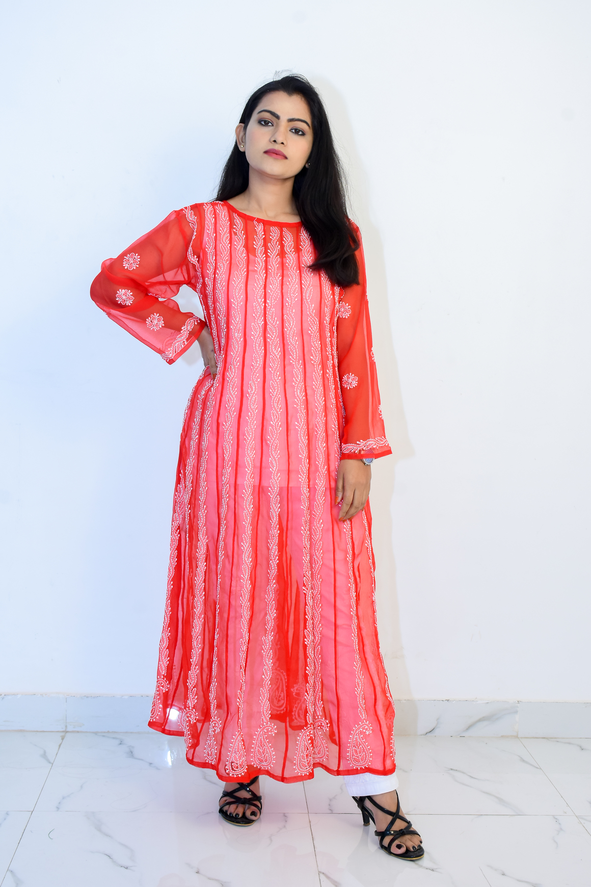 Buy Hand Embroidered Lucknowi Chikan Red & White Georgette Kurti