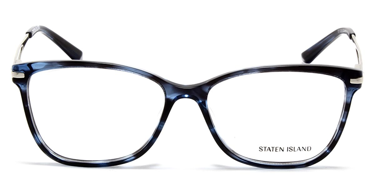 Cateye Eyeglass for Women Blue DA Front with Blue Silver Temples