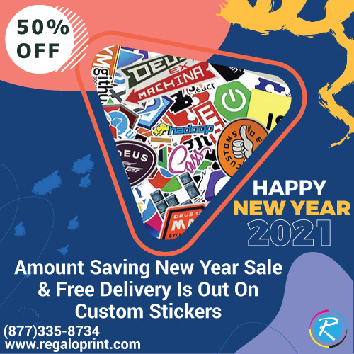 50% Amount Saving New Year Sale On Custom Stickers With Free Delivery Is Out