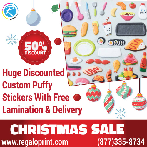50% Christmas Discounted Custom Puffy Stickers With Free Lamination And Delivery