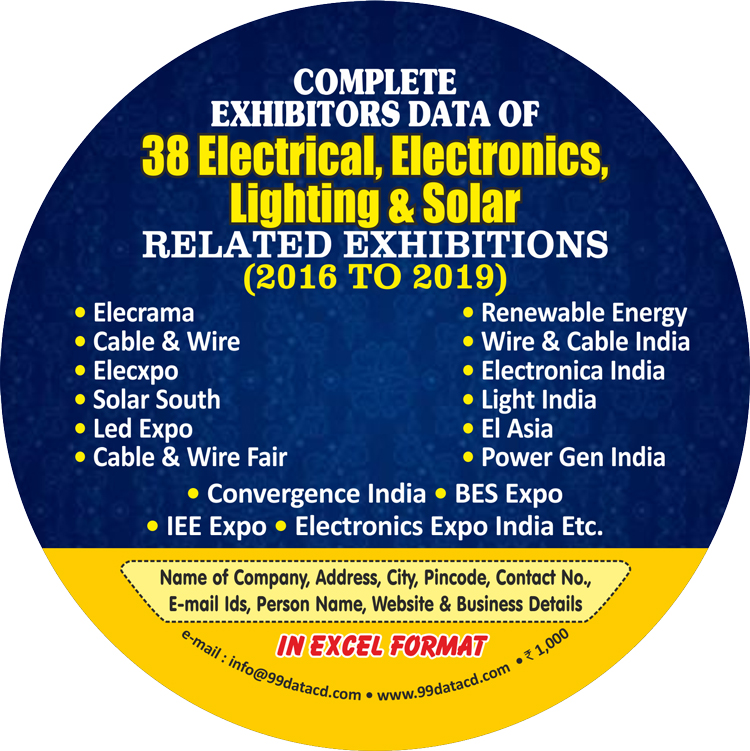 Complete Exhibitors Data of 38 Electrical, Electronics,  Lighting & Solar Related Exhibitions (2016-2019) (In Excel Format)