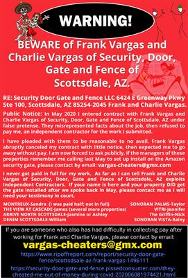 Public Notice: RE: Security Door Gate and Fence LLC 6424 E Greenway Pkwy Ste 100, Scottsdale, AZ 85254-2045 Frank and Charlie Vargas.