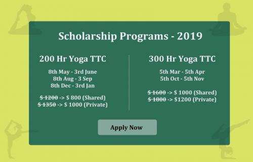 Free 200 Hr Yoga Teacher Training Scholarship 2019 in Rishikesh
