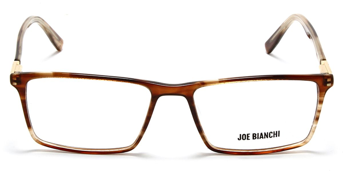 Unisex Rectangle Eyeglass Brown DA Front with Brown Transparent Temples