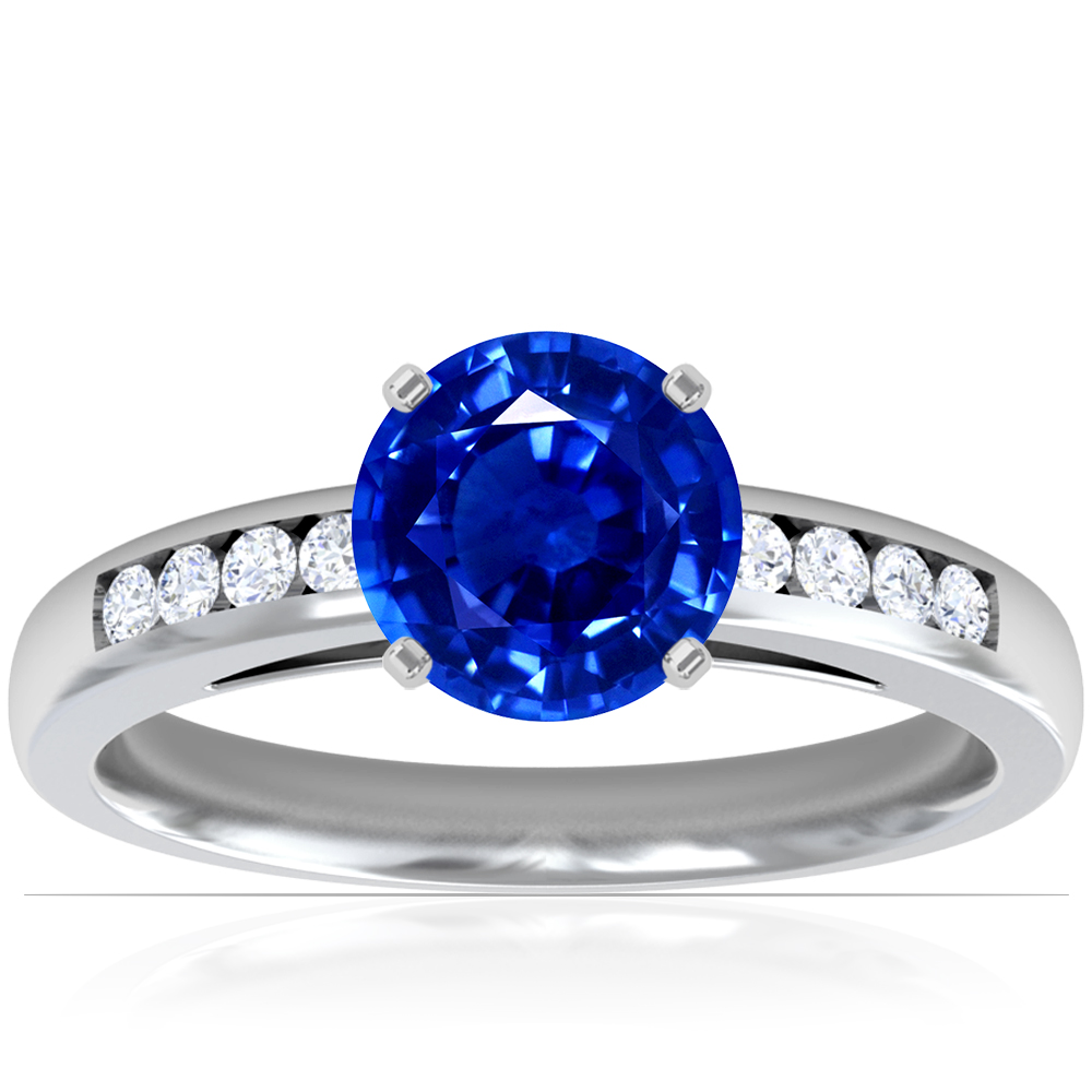 Traditional Round Untreated Blue Sapphire Ring with Channel Set Diamonds (1.21cttw)