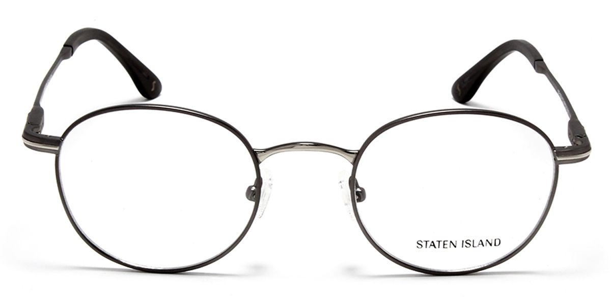 Unisex Round Eyeglass Grey & Silver Front with Grey Temples