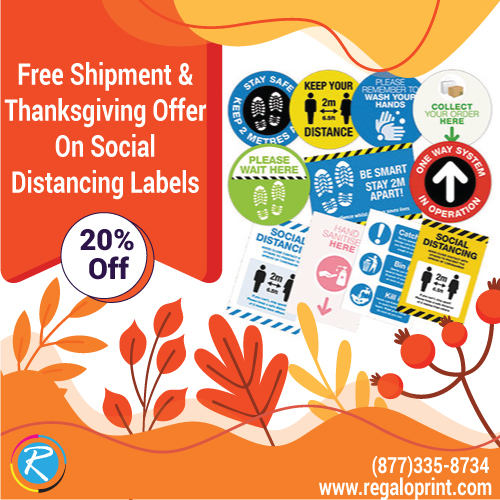 Free Shipment And 20% Thanksgiving Discount On Social Distancing Labels
