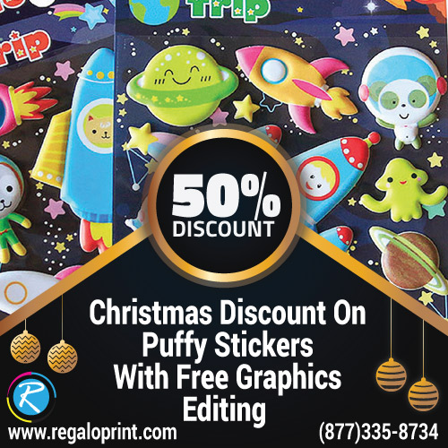 50% Christmas Discount On Puffy Stickers With Free Graphics Editing
