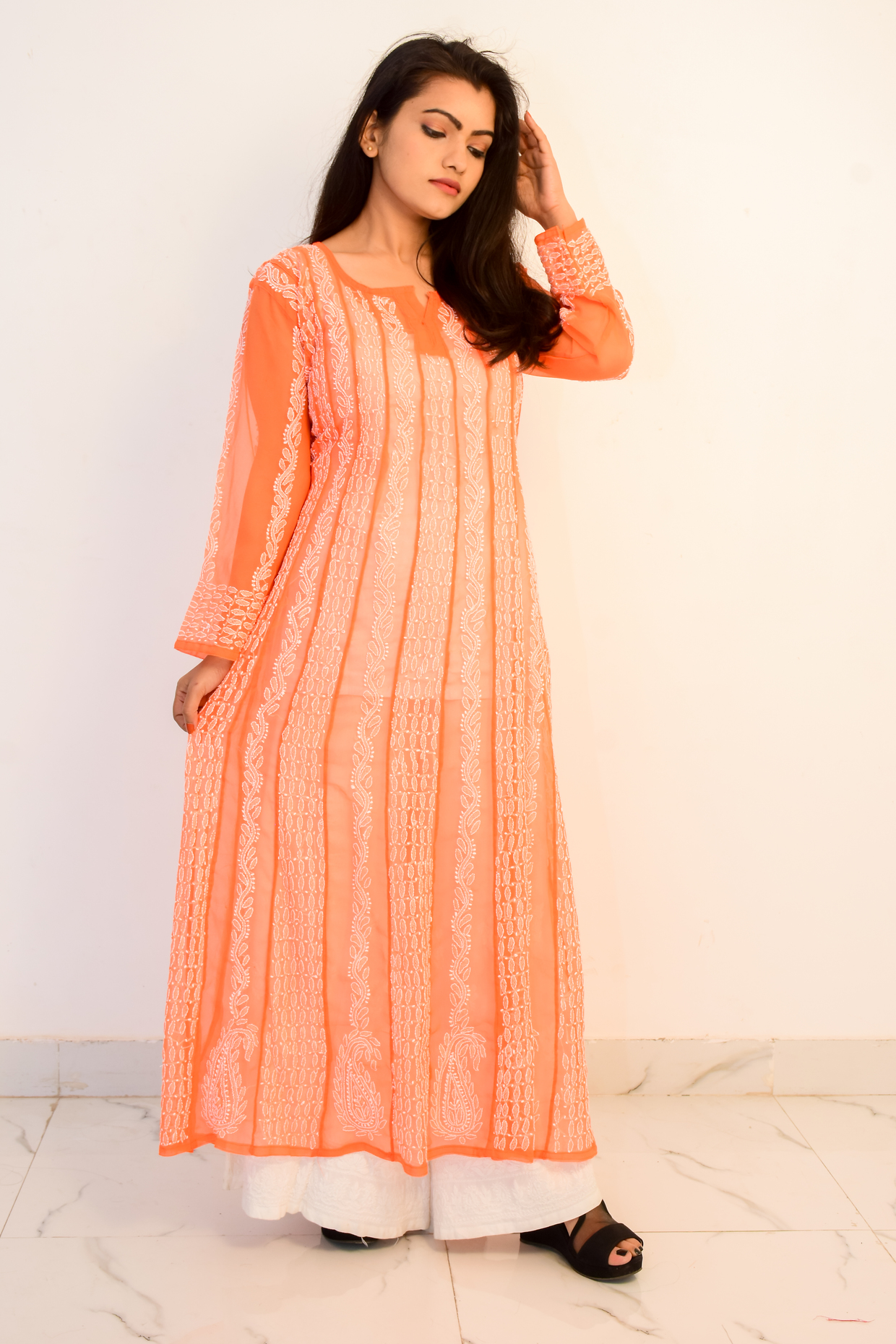 Buy Hand Embroidered Lucknowi Chikan Orange and White Georgette Kurti