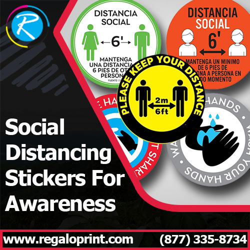 Custom Made Social Distancing Stickers For Awareness – RegaloPrint