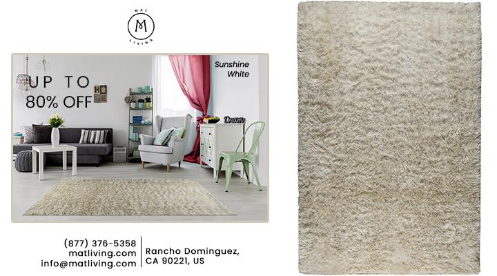 Hand Woven Shaggy Sunshine White Area Rug Carpet Sale-Mat Living
