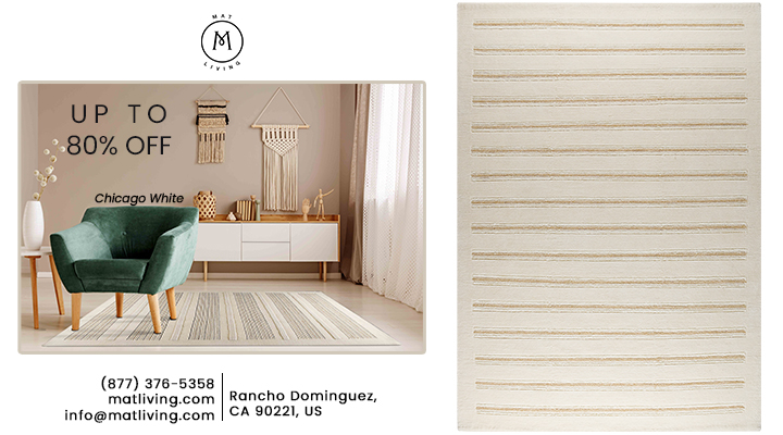 Hand Knotted Striated Pico Chicago White Area Rug Carpet Sale