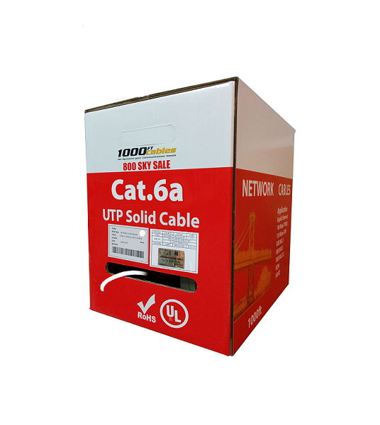 1000ft Cat6A Plenum Solid Copper UTP Ethernet Cable