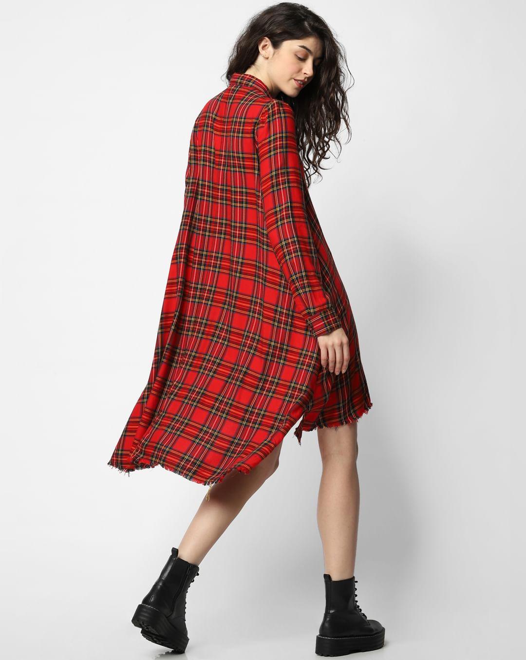 Buy Red Checks Shirt Dress for Women with Full Sleeves Online