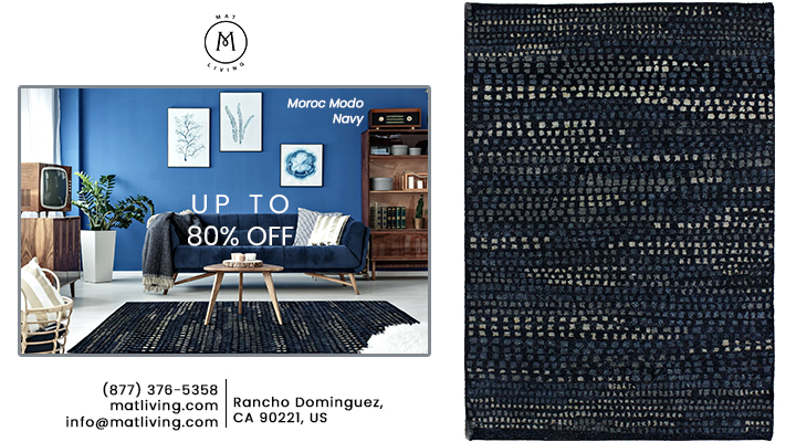 Luxury Moroc Modo Traditional Geometric Knotted Navy Area Rug Carpet-Mat Living