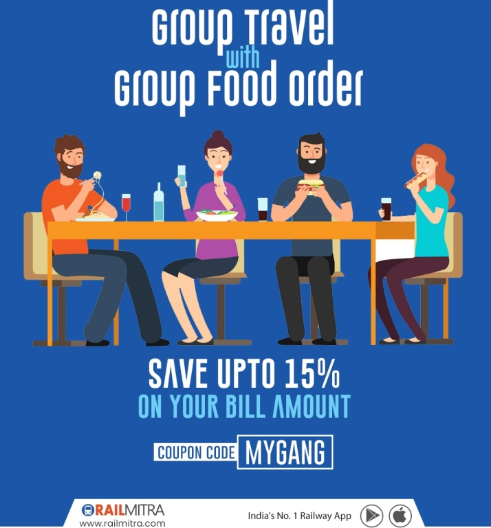 Get 15% Off !!! On your Group Food, Order With RailMitra
