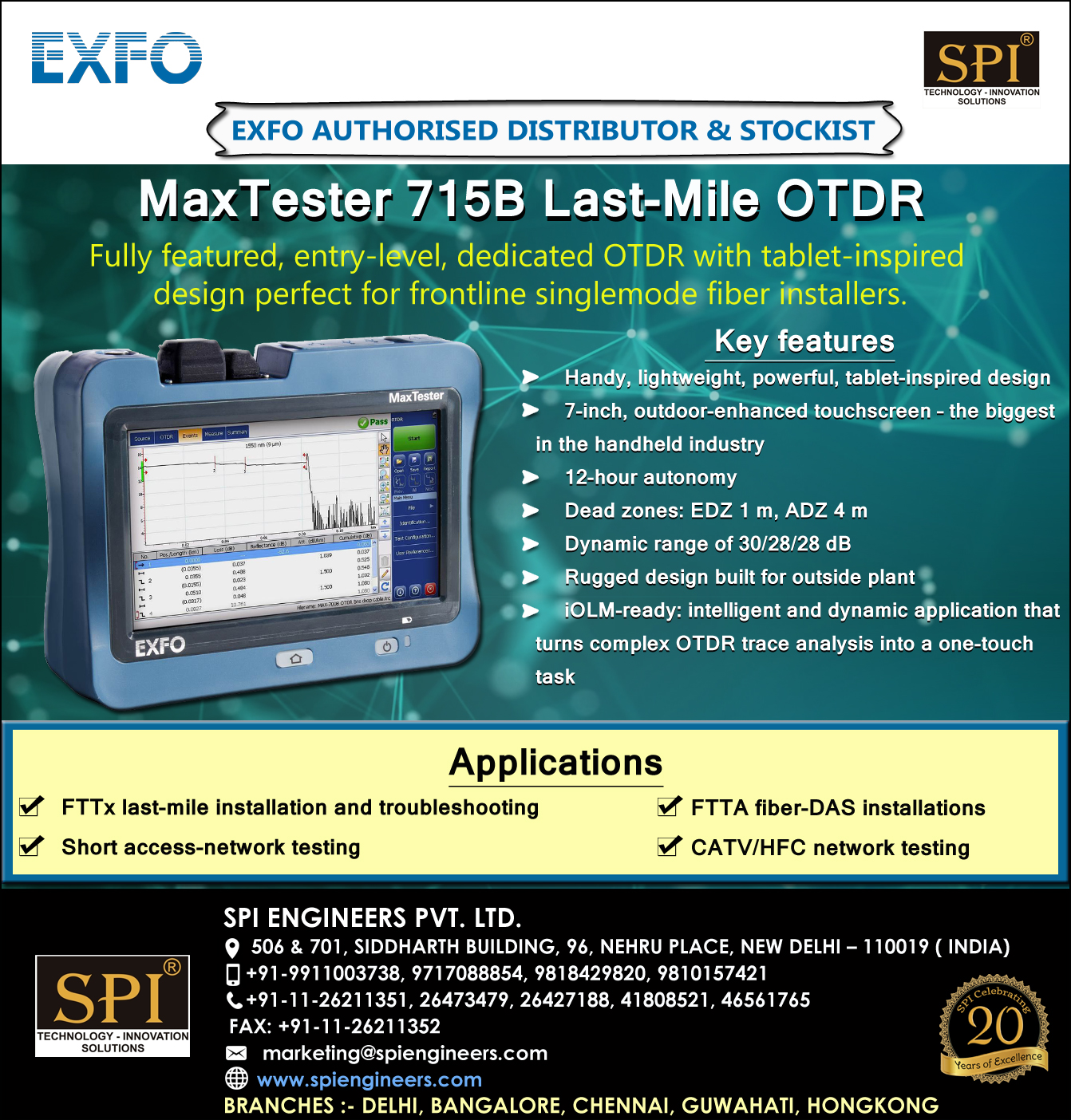 EXFO Max 715b Dealers in India at SPI Engineers