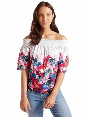 Womens Floral Off Shoulder Top Plus Size