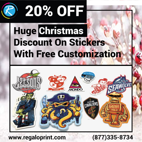 20% Christmas Discount On Custom Stickers With Free Customization