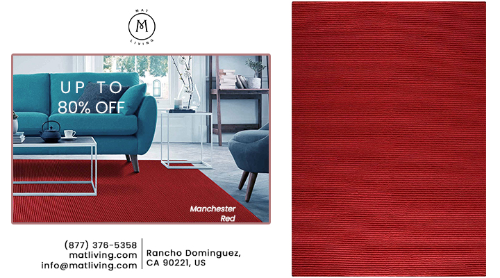 Hand Knotted Pico Manchester Striped Contemporary Red Area Rug Carpet