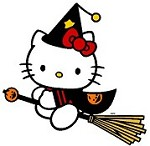Broomstick Flying Hello Kitty Applique Embroidery Design
