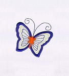 BLUE AND ORANGE BUTTERFLY APPLIQUE EMBROIDERY DESIGN