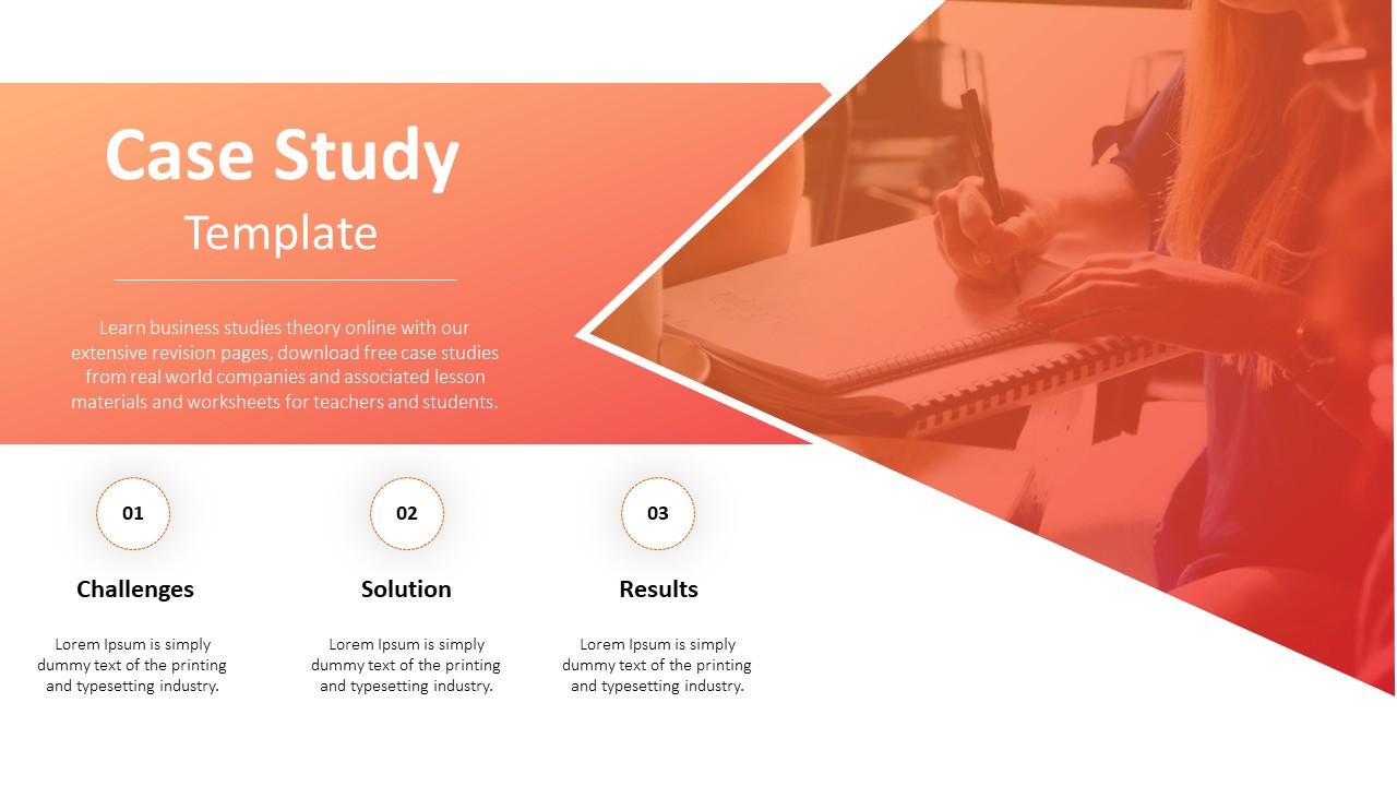 Dusky orange brilliant case study powerpoint PPT slides