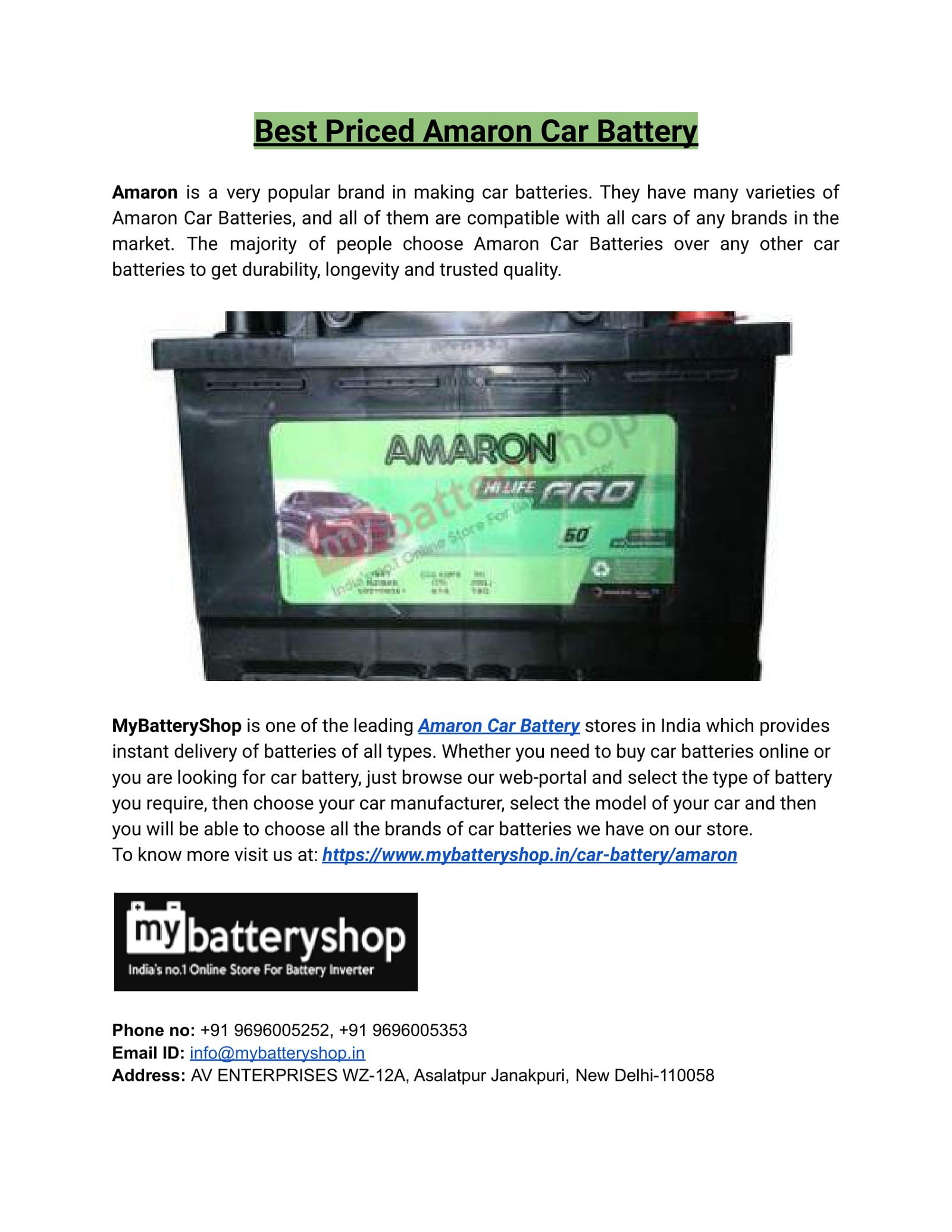 Best Priced Amaron Car Battery