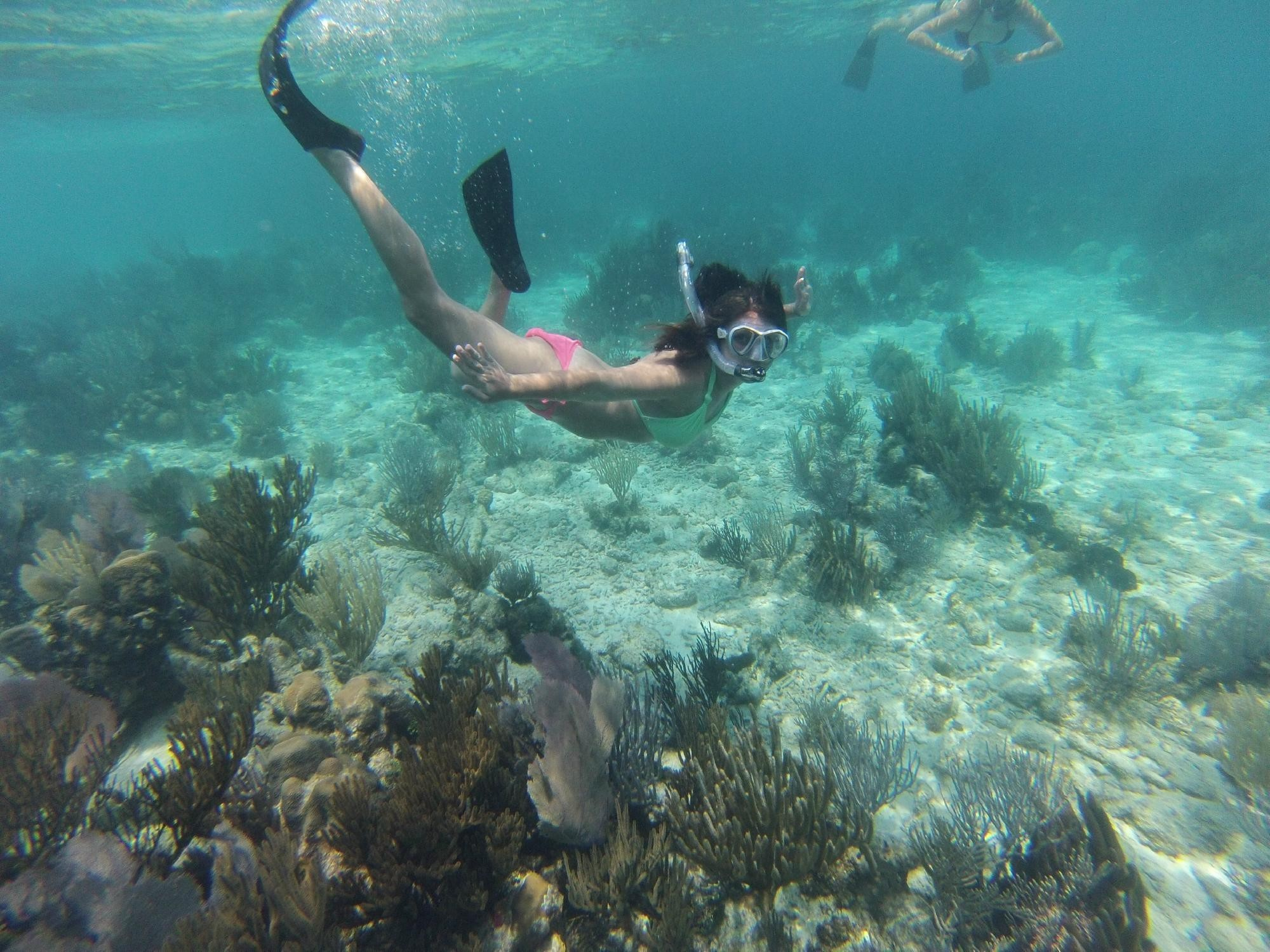 girl on snorkeling at an island
