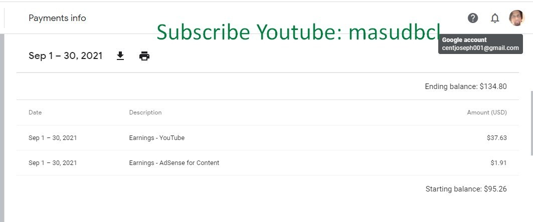 Youtube Payment Proof |
