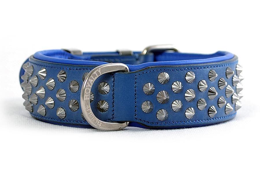 Imperial Blue Diamond Cone Studs Dog Collar