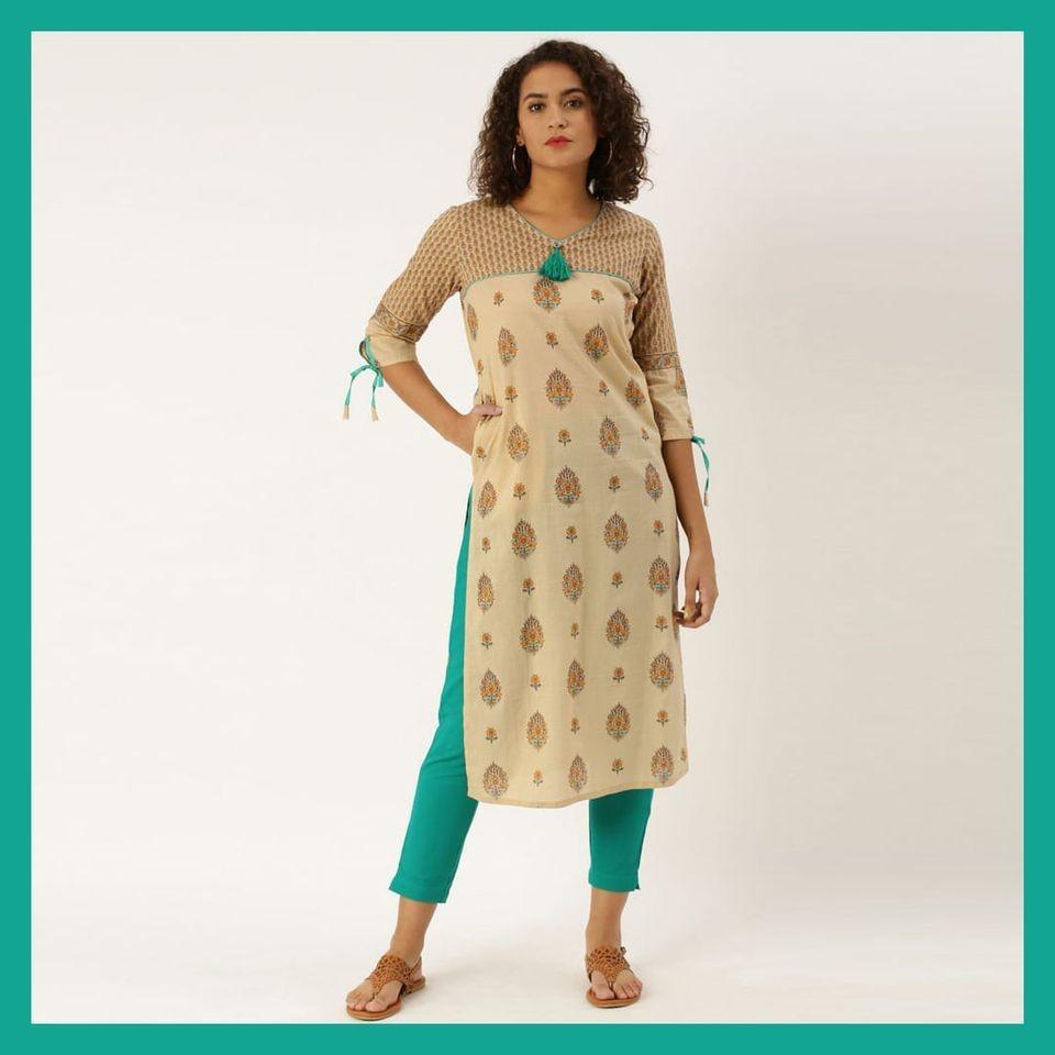 Jaipur Kurti Beige printed straight kurta with Rayon Solid Green Pant