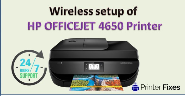 How to make Wireless setup of HP OFFICEJET 4650 PRINTER?