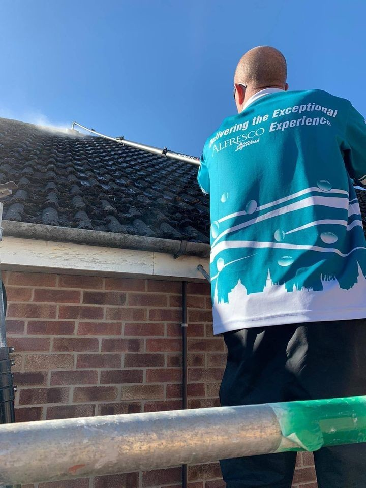 Alfresco Exterior Cleaning in Action - Roof Cleaning a Home in Oxford