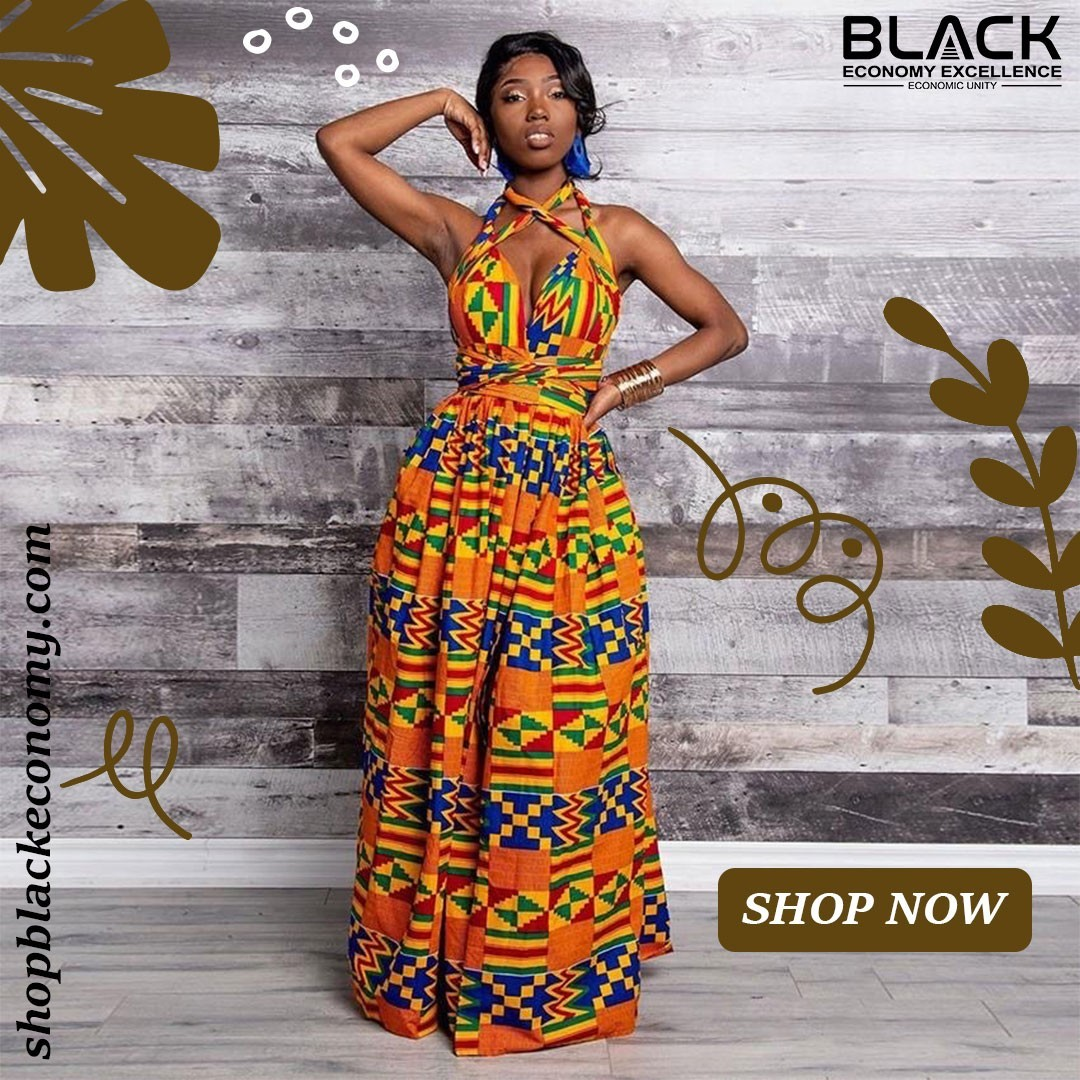 Womens Elastic Robe African Dresses   Shop Black