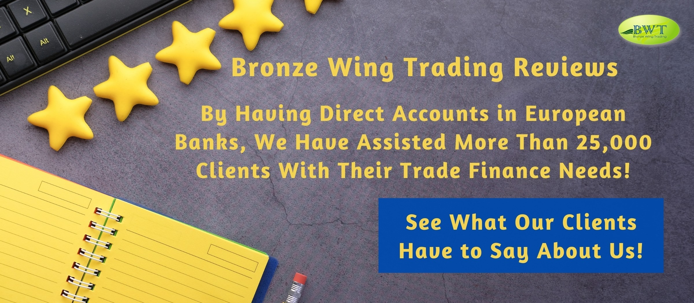 Infographic on Bronze Wing Trading's Happy Clients Reviews
