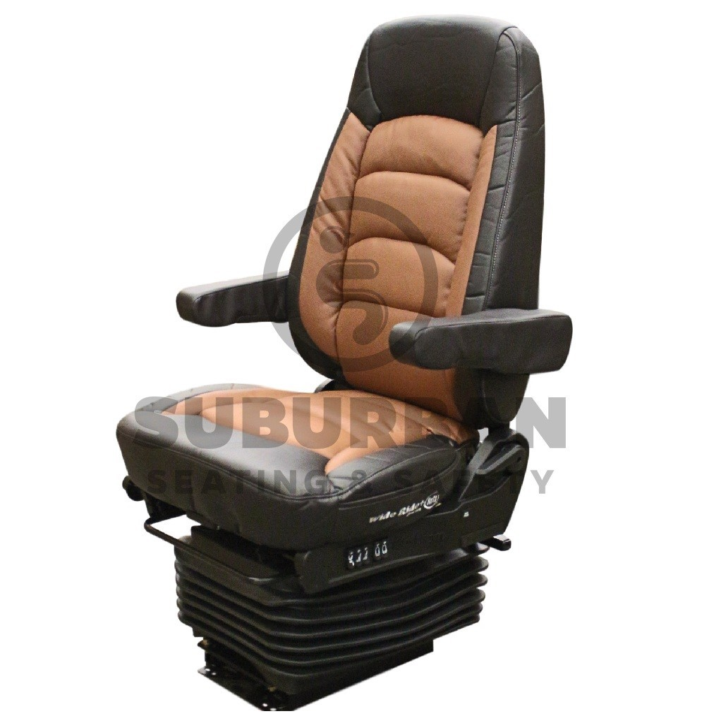 Bostrom Wide Ride+Serta® High Back Truck Seat in Black & Saddle Ultra-Leather with Dual Arms