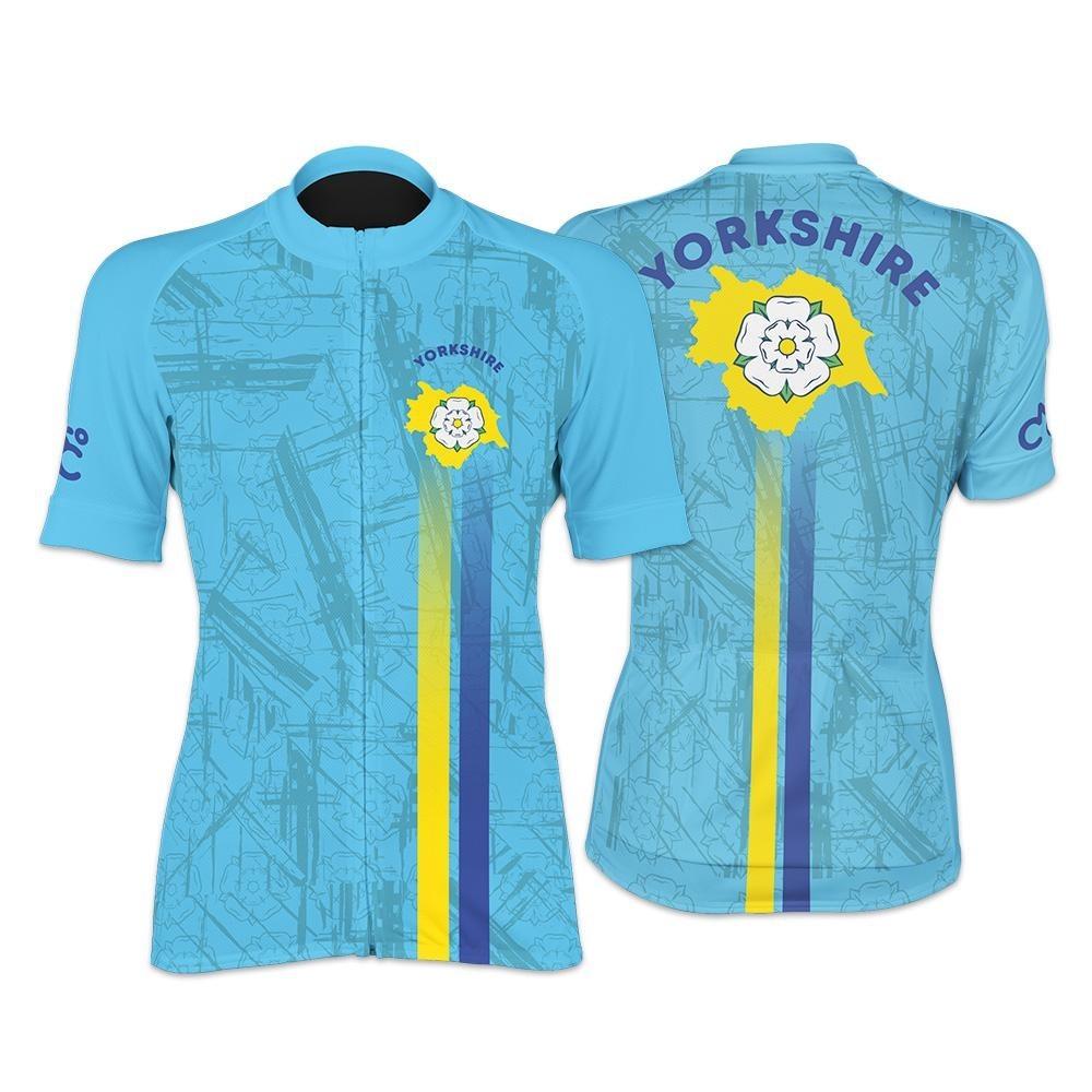Yorkshire Rose Ladies Short Sleeve Cycling Jersey (Aqua)