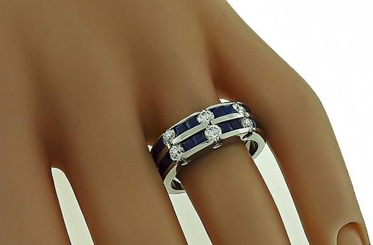 Fabulous 14k White Gold Square Cut Sapphire Round Wedding Band