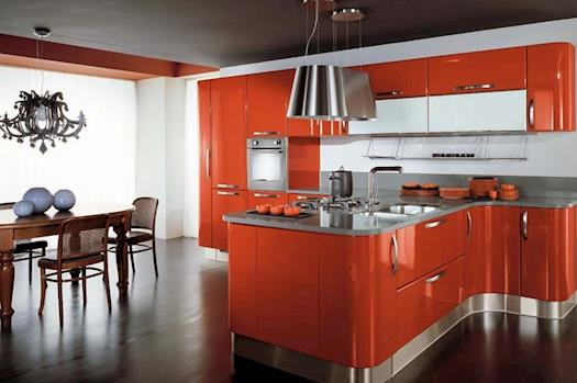 gloss lacquered curved kitchen cabinets