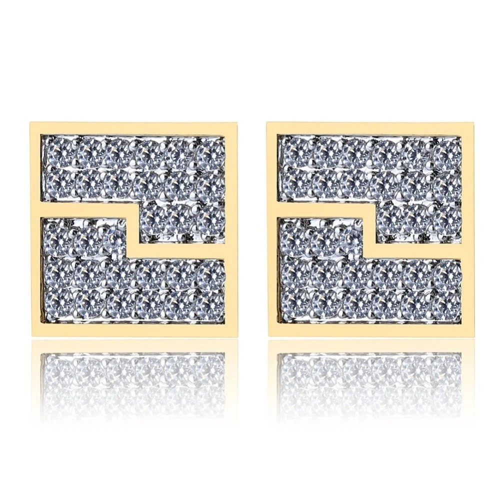 Hip Hop 925 Silver Square Segmentation Stud Earrings