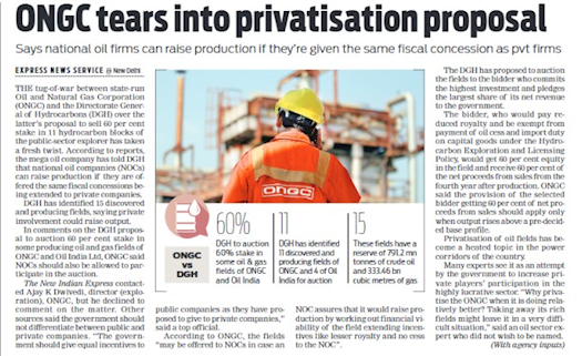 #ONGC Tears into Privatisation Proposal