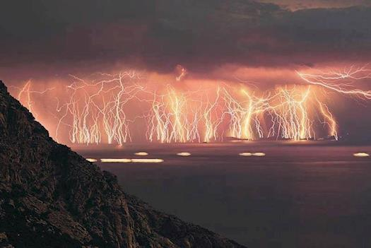 This is an image sequence containing 70 lightning shots, taken at Ikaria island during a severe thu