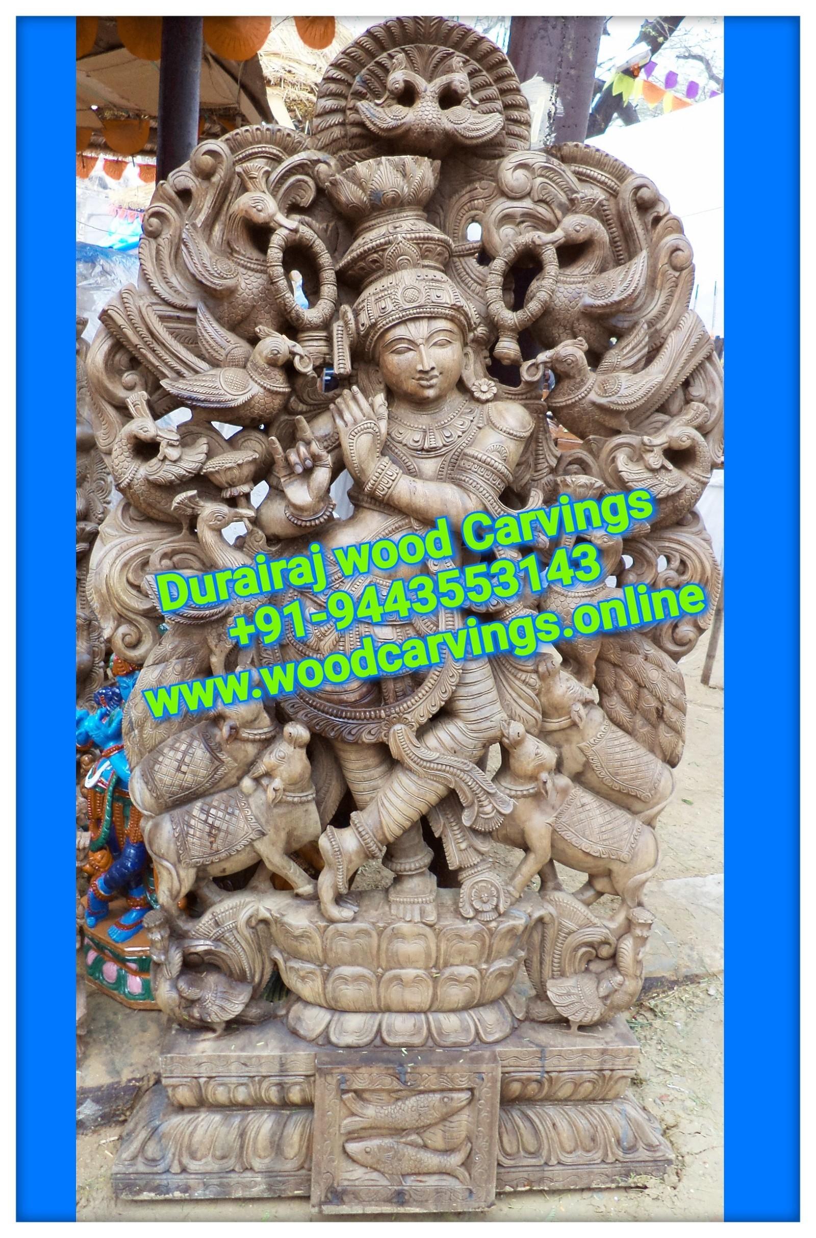 wooden krishna statue