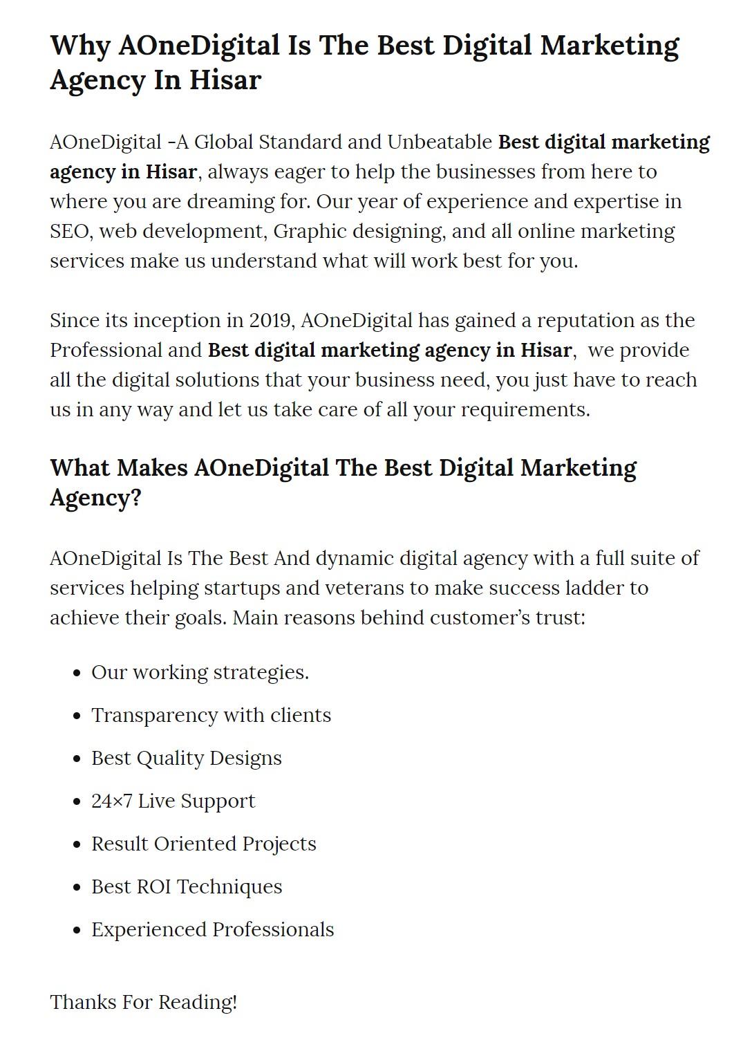 Why AOneDigital Is Best Digital Marketing Agency In Hisar