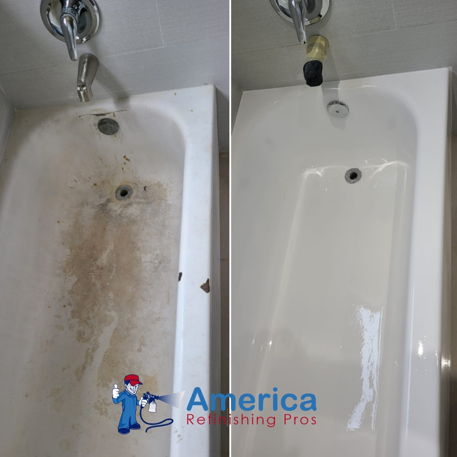 bathtub refinishing service by America Refinishing Pros