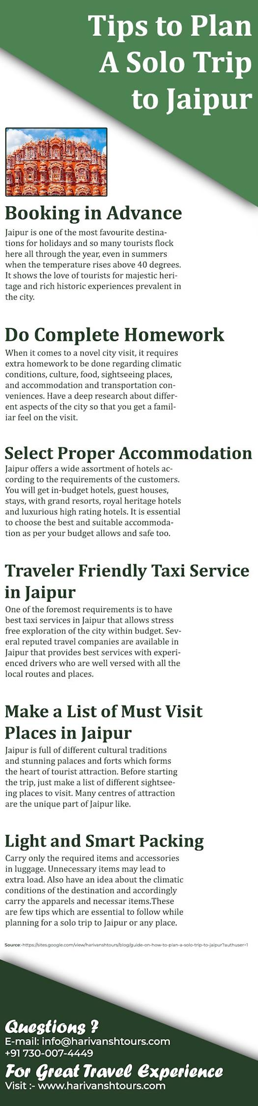 Guide On How To Plan A Solo Trip To Jaipur- Harivansh Tours